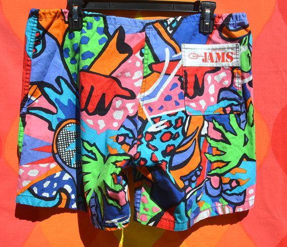 7a6f54644f vintage 80s surf line original JAMS shorts floral tennis pattern ...
