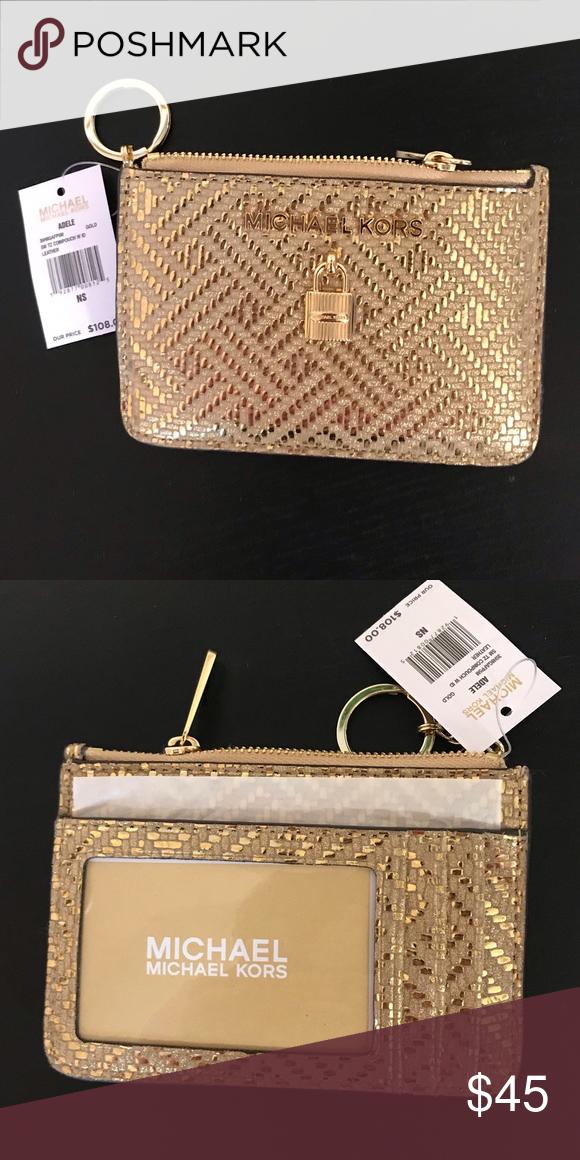20e2202187e0 Michael Kors Adele Coin Purse Pale Gold 💥Authentic  Gold Tone Hardware  2  Card Slots