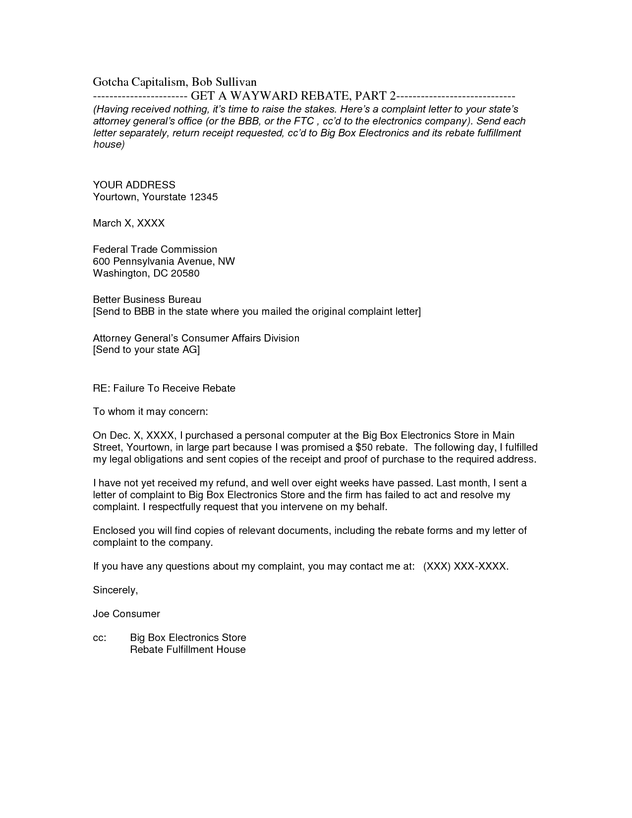 Carbon Copy Business Letter Sample Joseph Stephen Timms Hard