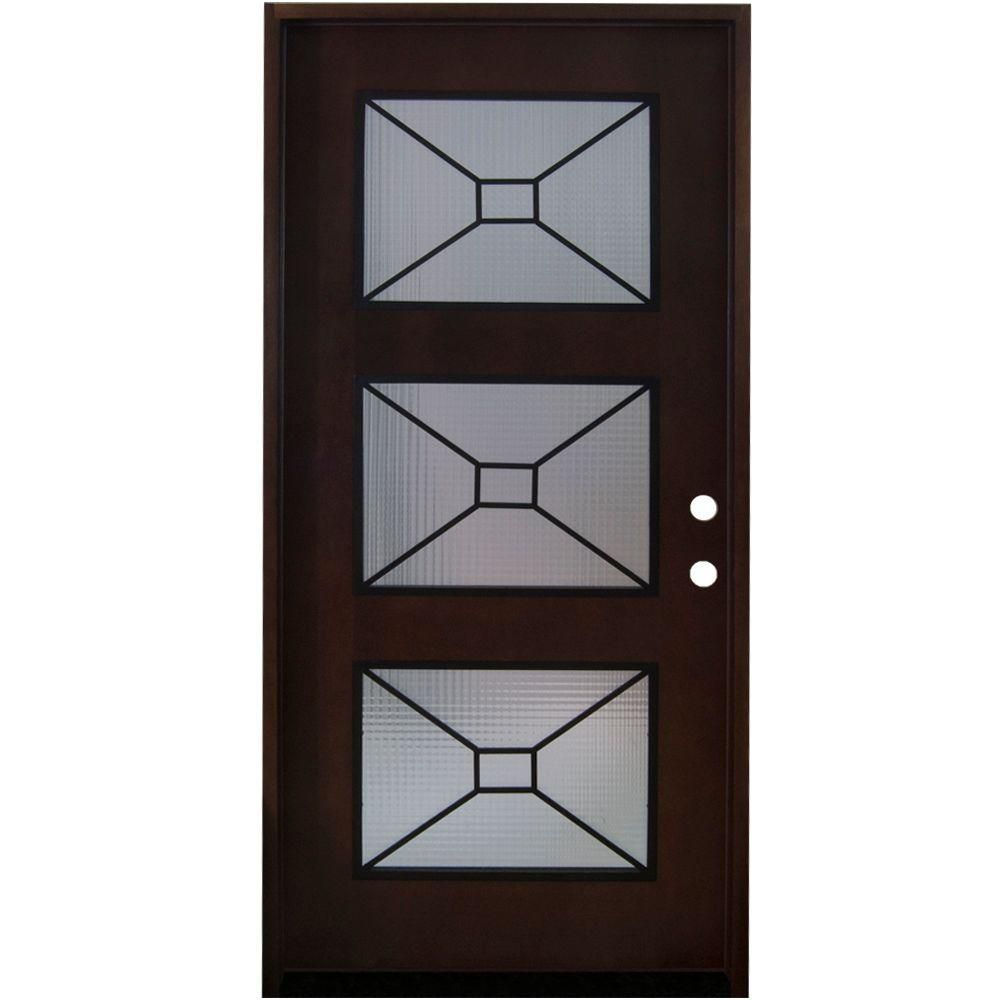 Steves & Sons 36 in. x 80 in. Modern Iron Grille 3 Lite Stained Mahogany Wood Prehung Front Door,