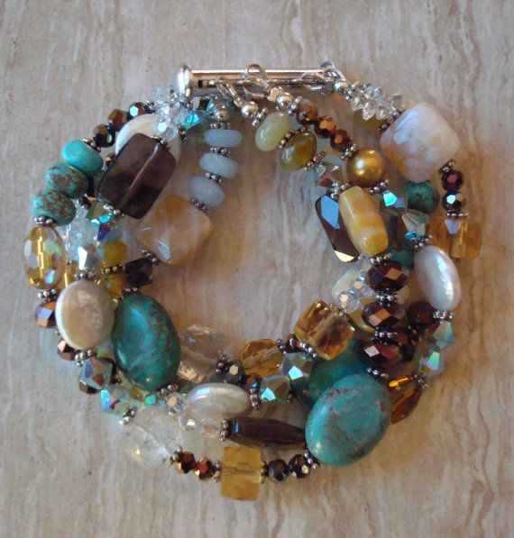 Gemstone Multi Strand Beaded Bracelet