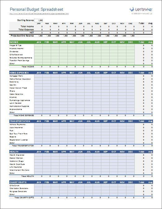 Personal Budget Spreadsheet Template for Excel 2007+ u2026 Pinteresu2026 - expense sheets template