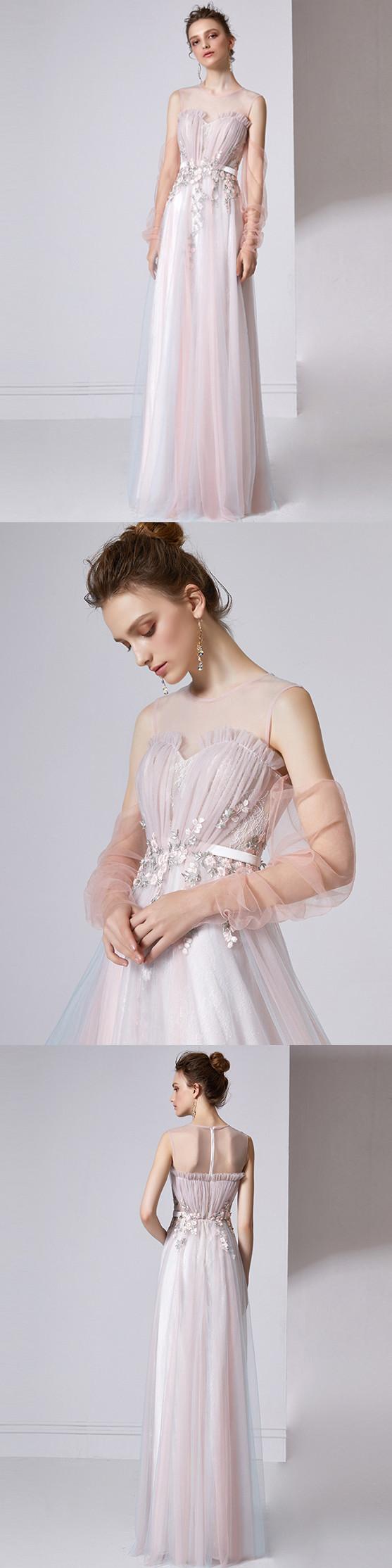 Aline scoop floorlength long sleeve tulle prom dressevening dress