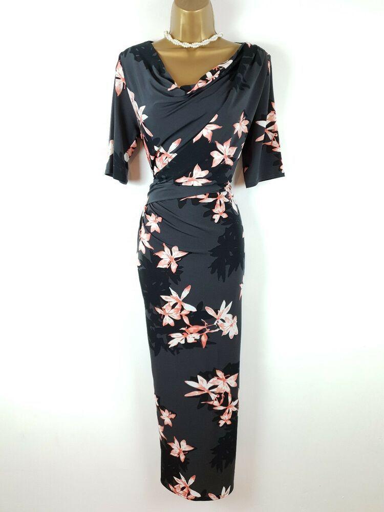 Per Una M S Grey Black Peach Floral Stretch Bodycon Maxi Dress Uk 14 Fashion Clothing Shoes Access Bodycon Maxi Dresses Maxi Dresses Uk Occasion Dresses Uk
