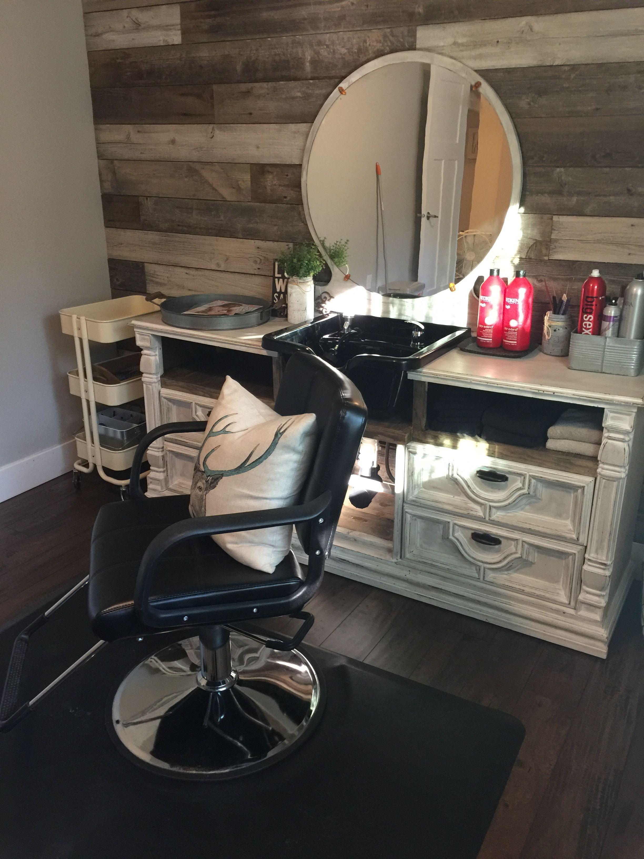 Diy Shampoo Bowl In Dresser Home Salon In 2020 Home Hair Salons Salon Suites Decor Home Beauty Salon
