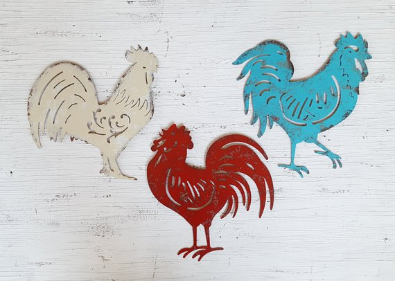 3 Metal Rooster Chicken Farmhouse Kitchen Wall Decor Country