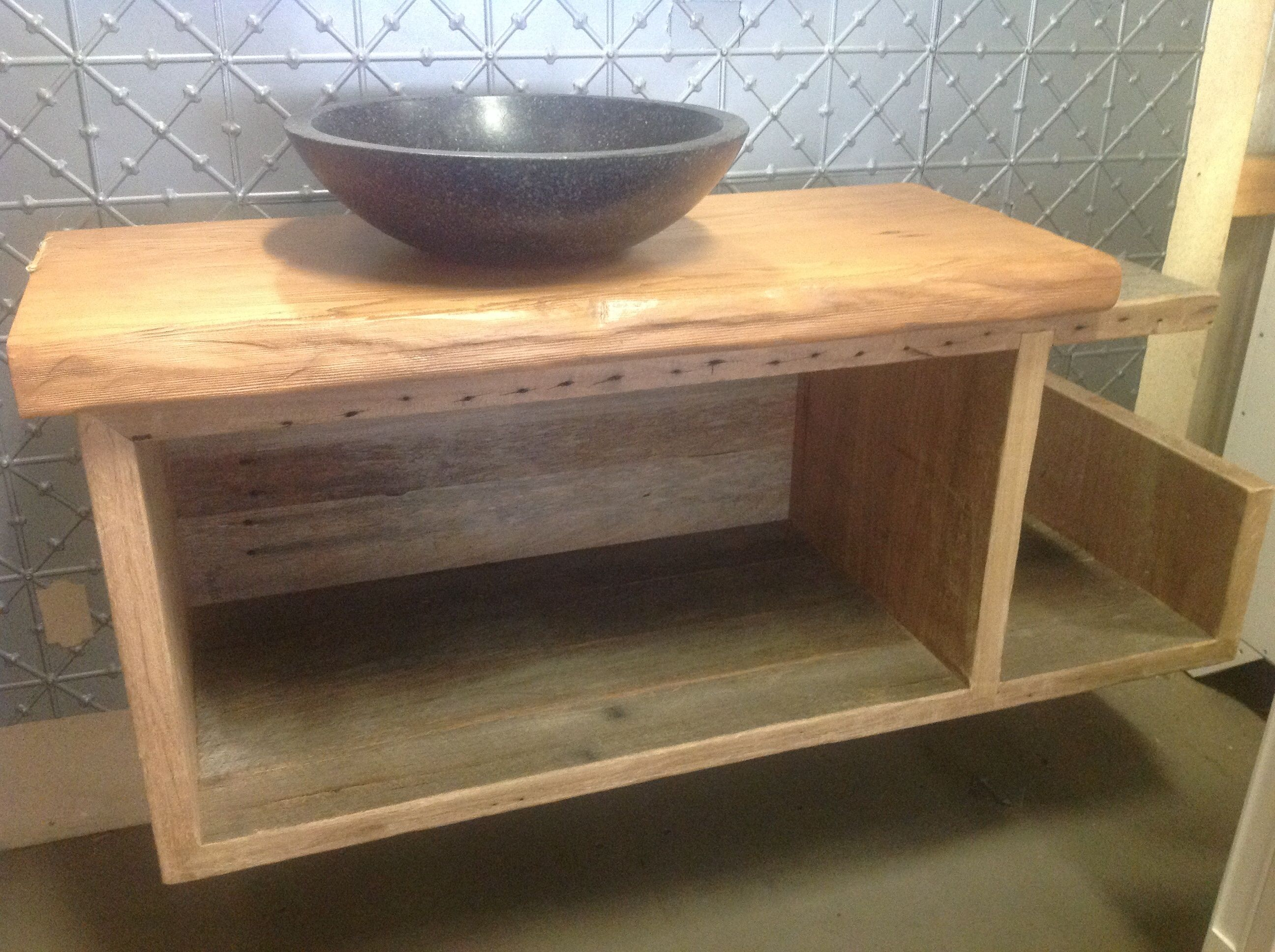 Recycled timber vanity top and wall mounted blackbutt vanity with – Recycled Bathroom Vanities