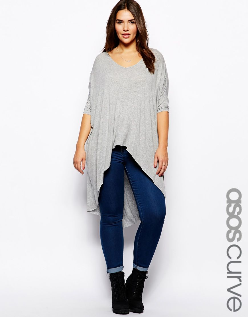 image 1 of asos curve jersey top with dip back my style pinterest asos curve curves and dips. Black Bedroom Furniture Sets. Home Design Ideas