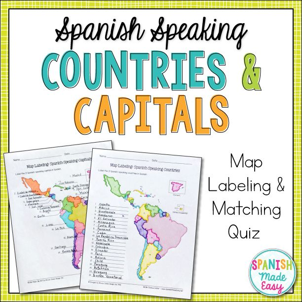 Spanish-Speaking Countries and Capitals Maps and Quiz | Activities ...