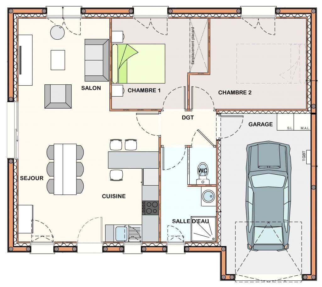 50 Awesome Plan De Maison 2 Chambres Salon Cuisine Pdf