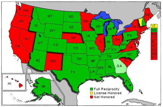 Map Of States That Allow Concealed Carry Concealed Carry Laws In - Us concealed carry reciprocity map