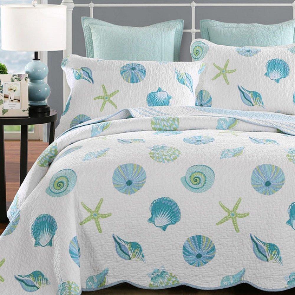 Summer Beach Theme Cotton 3 Pc Queen Bedding Set Beach Bedding Sets Coastal Bedding Sets Queen Bedding Sets