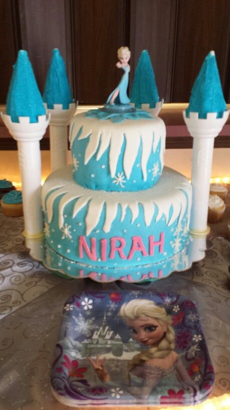 Frozen themed birthday cake for my granddaughters 5th birtday 6