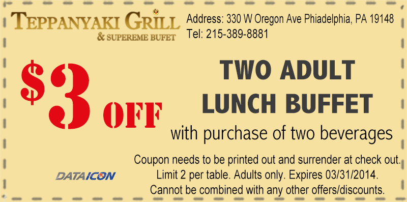 Lunch Coupon For 2 Adults Lunch Buffet Print Coupons Teppanyaki