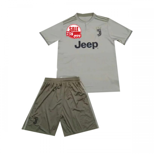 07c30e47adf Kids Juventus Away Soccer Jersey Kit Children Shirt + Shorts 2018-19 Cheap youth  soccer jerseys on goaljerseyshop.com