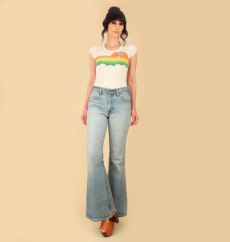 f581eafff483 ViNtAgE 70 s LEVI S Bell Bottoms Jeans Blue Heart Hippie Big Bells Denim  684 Pants Faded
