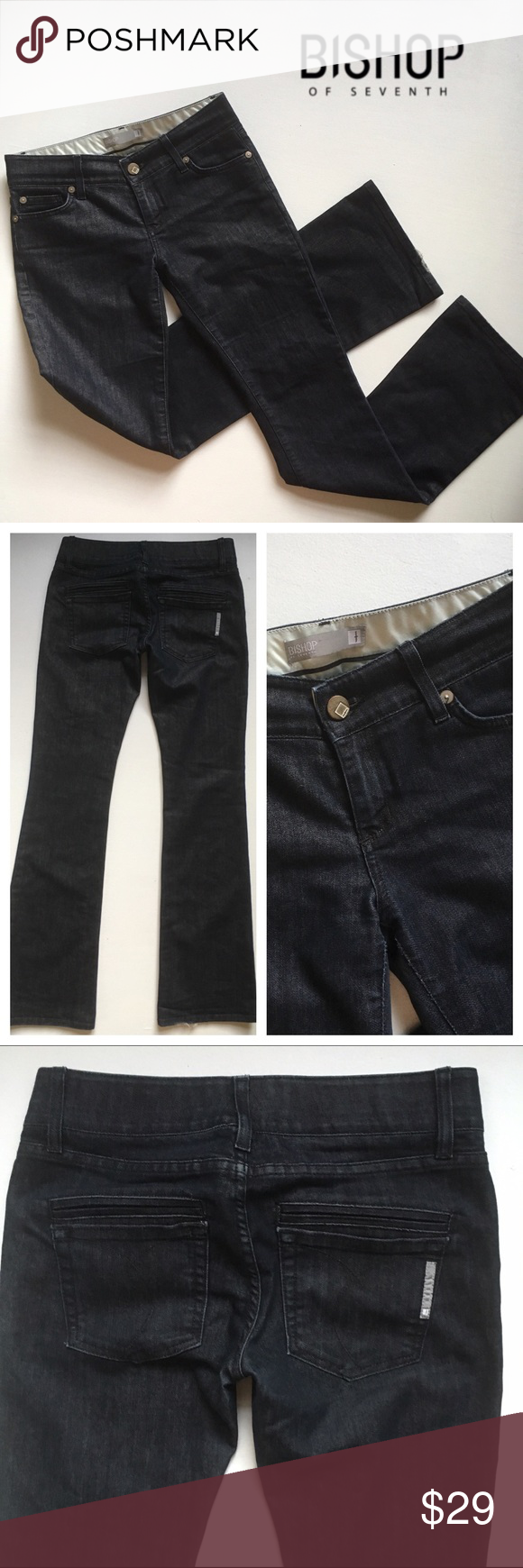 """Bishop of Seventh Boot cut Dark wash Denim 28 Gorgeous hand-tailored Bishop of Seventh Boot cut Dark wash Denim, made in Lis Angeles. Measurements: 8"""" rise, 35"""" inseam, 15.75"""" flat across waist. Please not some wear on the hems, as shown in final photo. 🎀Search my closet for your size to bundle and save 20% 3+ items! 🎀Reasonable Offers always Welcome!🎀 Bishop of Seventh Pants Boot Cut & Flare"""