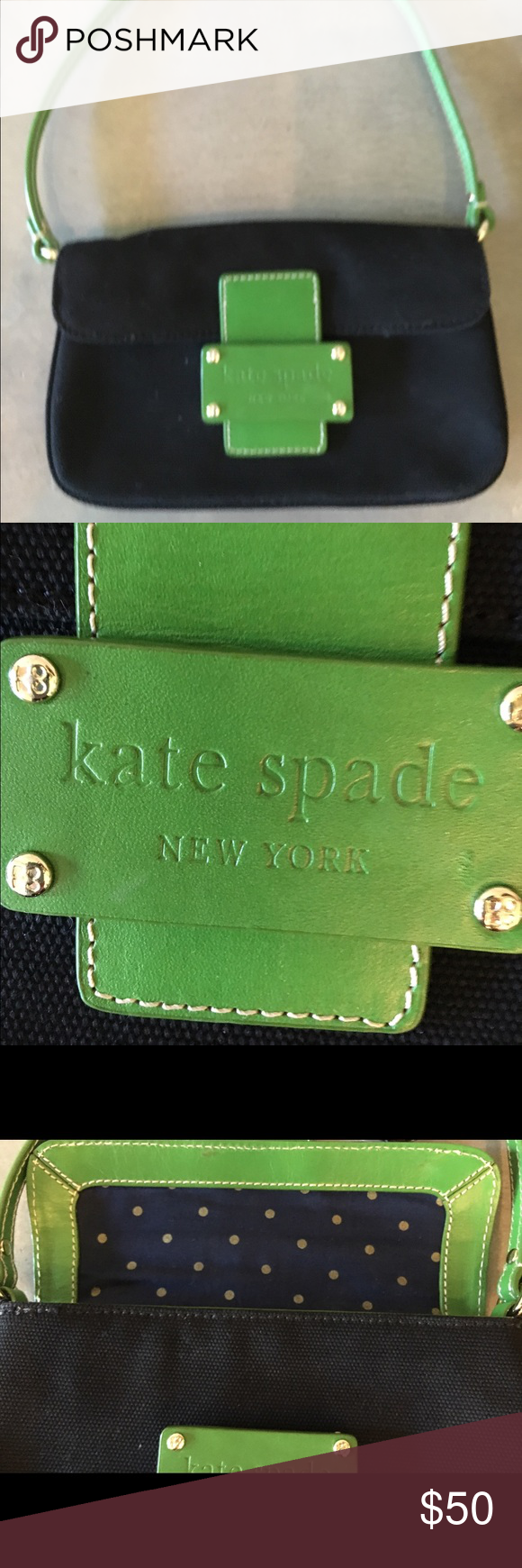 Kate Spade Small shoulder bag Cute Kate Spade small shoulder bag. Black canvas with kelly green accents. Navy polka dot lining. kate spade Bags Shoulder Bags
