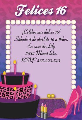 Tarjetas Para Cumpleaños De Señoritas De 16 Años Buscar