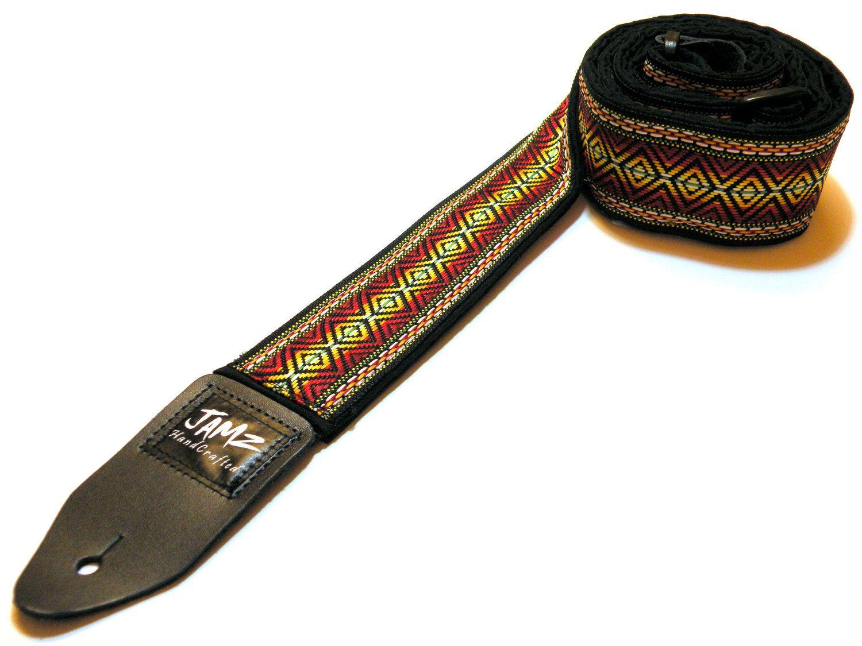 reggae guitar strap - rasta - jamaica - bob marley - woven jacquard