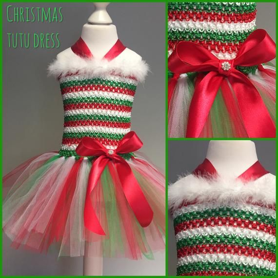 Photo of Christmas elf green red white tutu crochet dress tulle skirt dressing up photo shoot sparkly christmas party family photo nativity party out