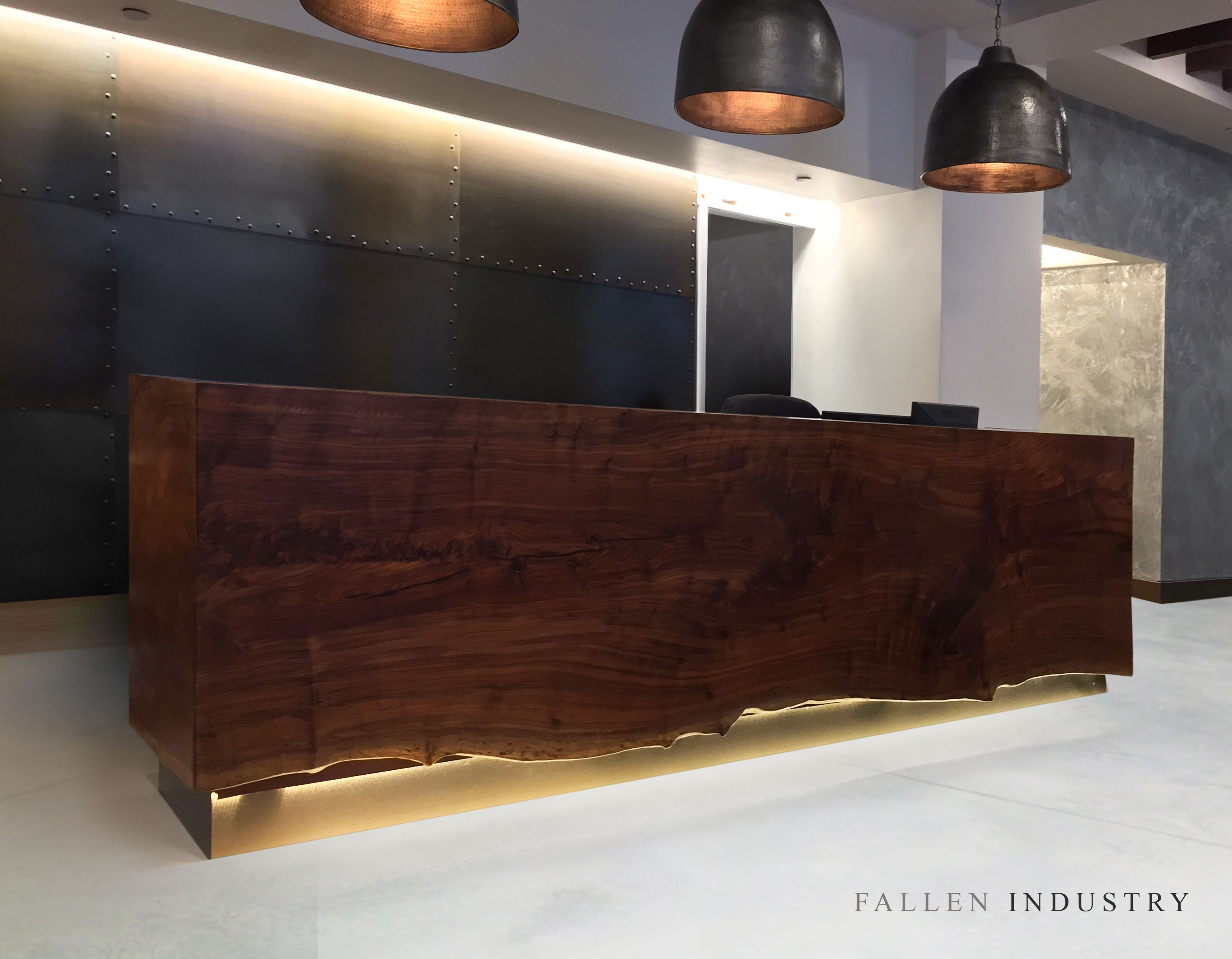 Waterfall reception desk in residential tribeca lobby for Live edge wood slabs new york