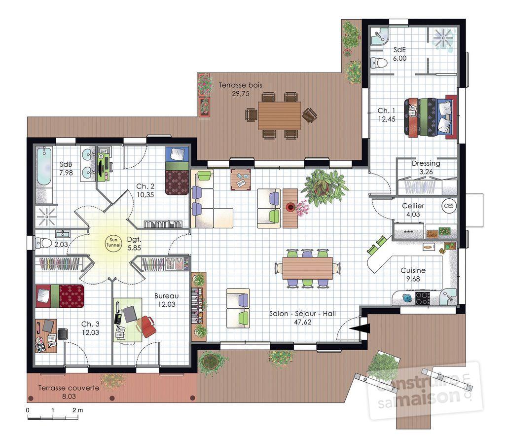 Maison à larchitecture bioclimatique