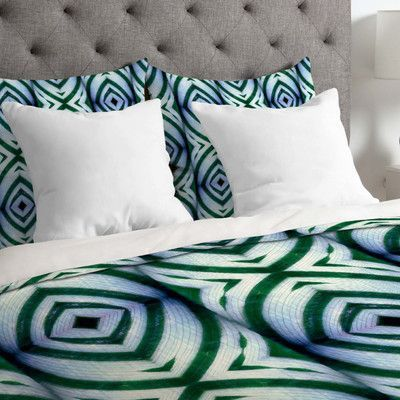 DENY Designs Wagner Campelo Lightweight Maranta Duvet Cover Size: Queen, Color: Green