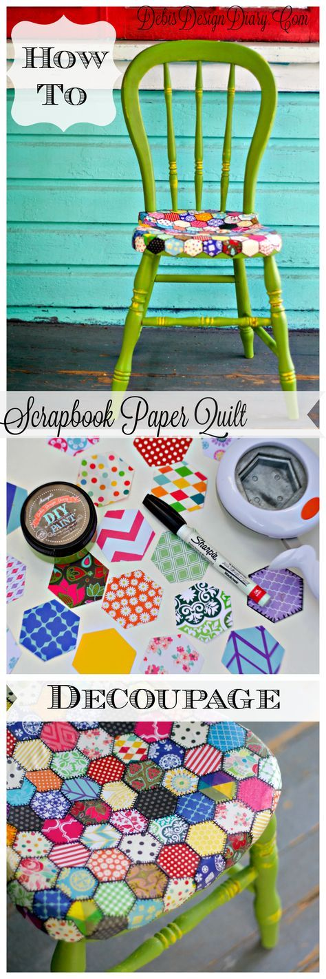 How to Decoupage furniture in a a quilt pattern with scrapbook paper. Also, this chair was painted with 2 ounces of DIY Paint!