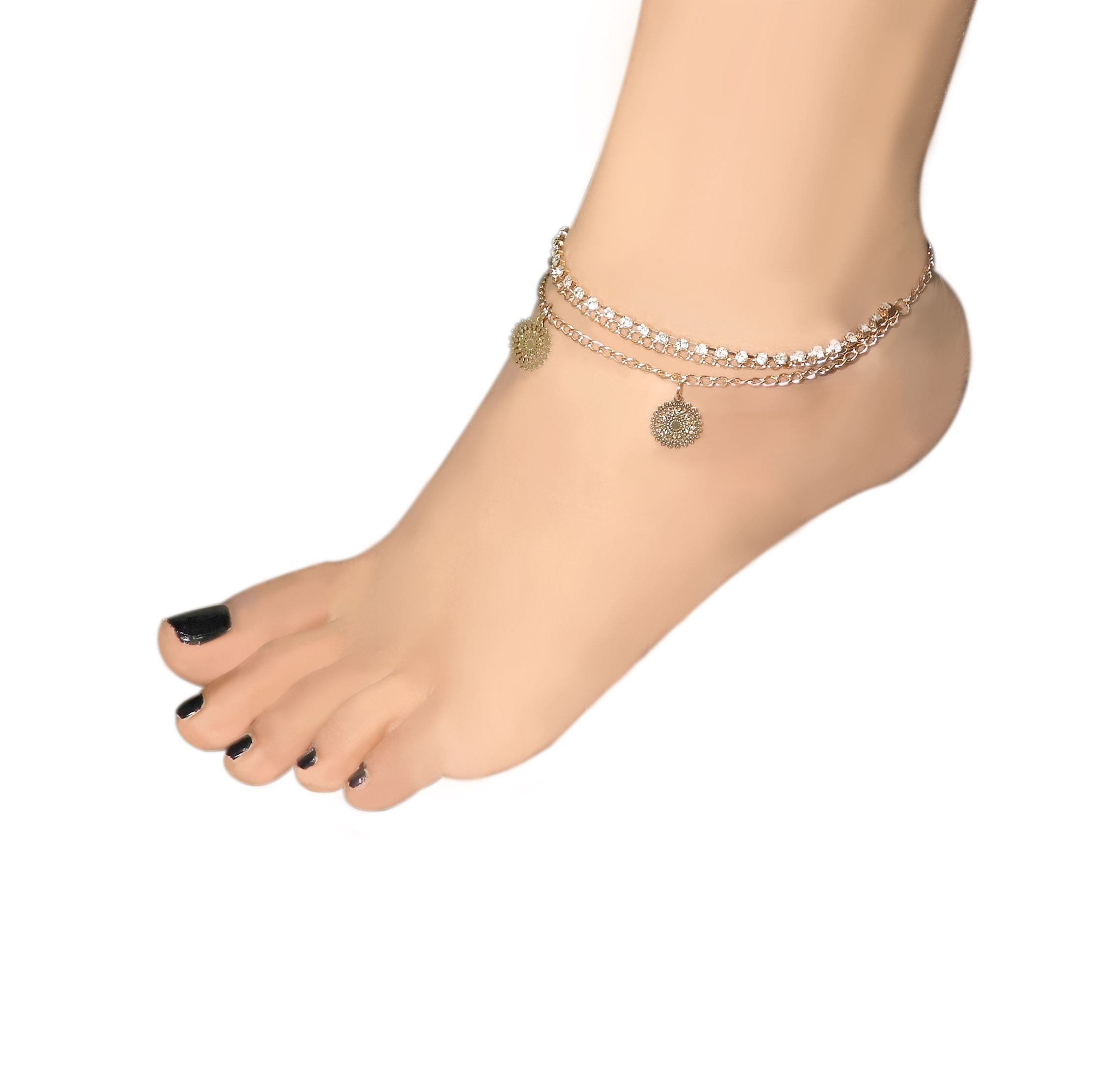 large embellished romano nicole plated gold crystal loading by marquis anklet necklace