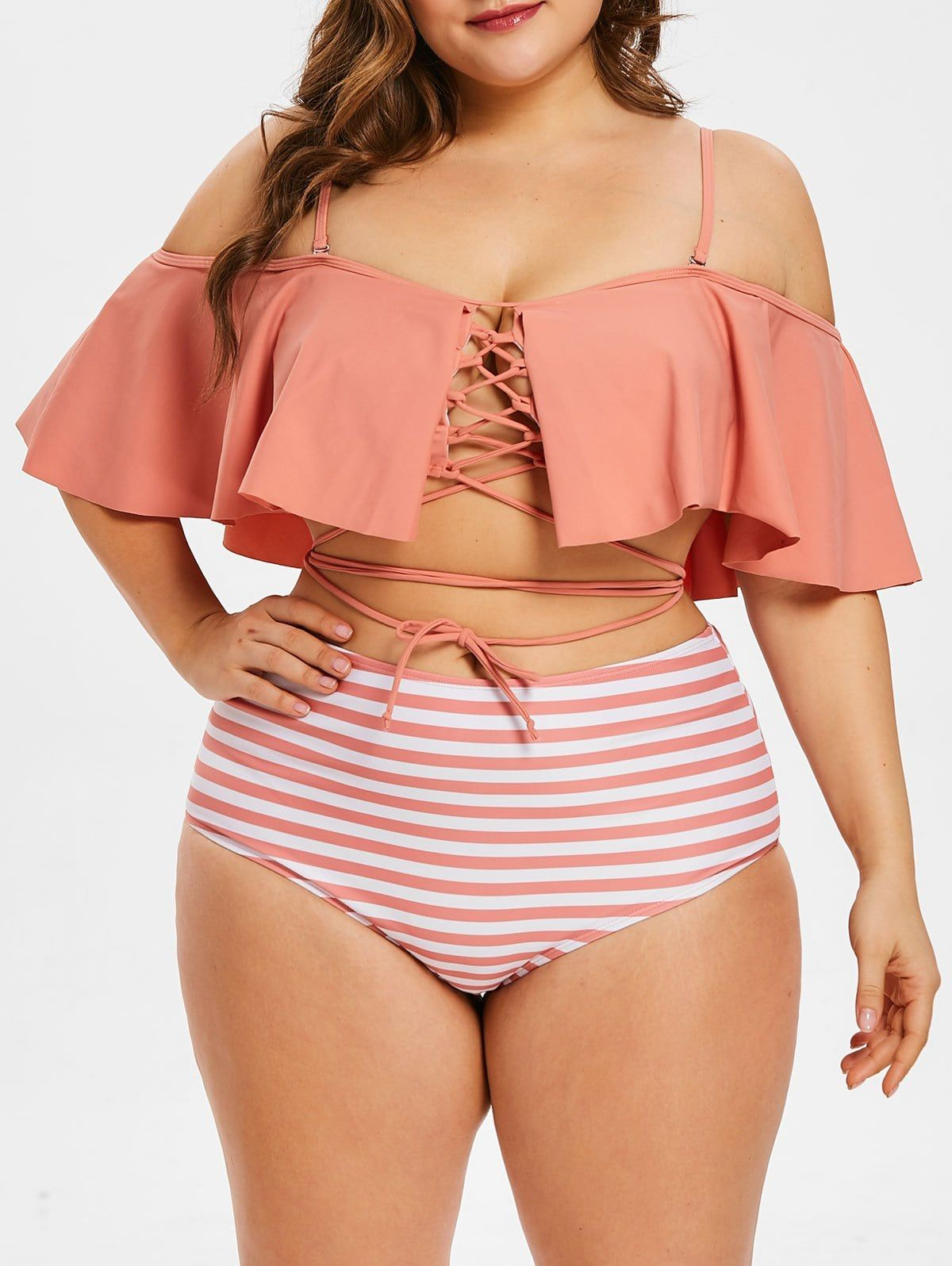 8922047298 Lace Up Plus Size Striped Panel Bikini Set, with flounce off the shoulder  and wrap ties around belly bandage wrap criss cross swim.