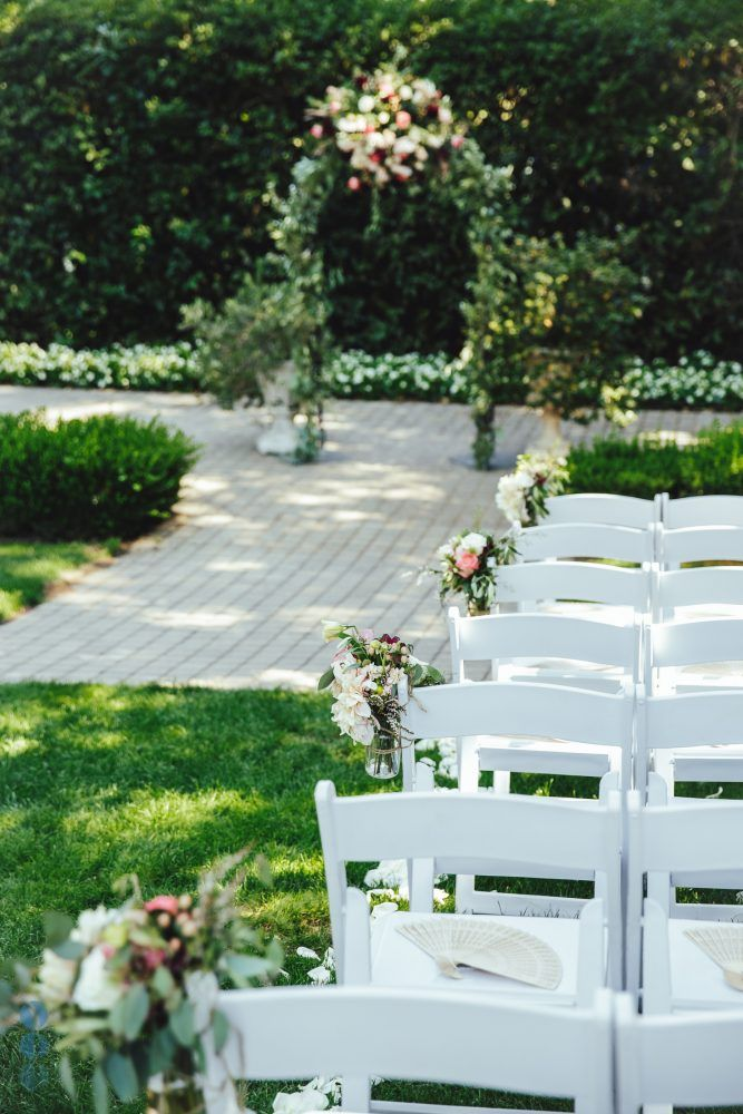 Madrona Manor Wedding | Wedding Ceremony Arch And Aisle Flowers At Madrona Manor In