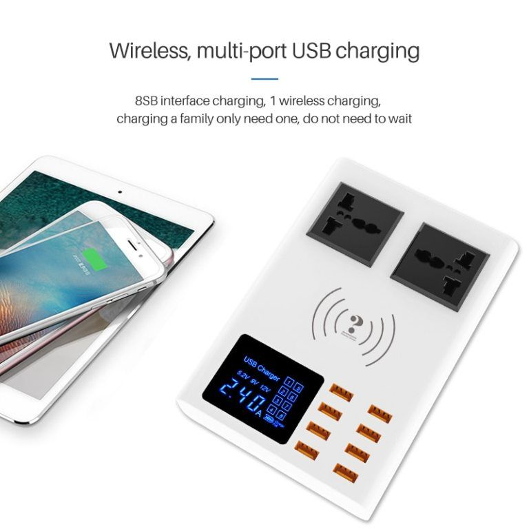 8 ports qi wireless fast charger quick charge station led