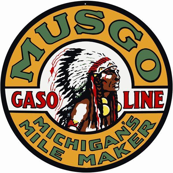Musgo Gasoline Michigan's Mile Maker Motor Oil Metal Sign