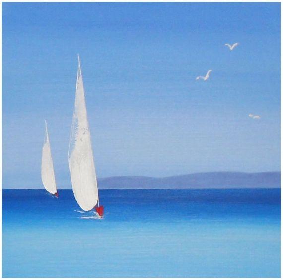 Populaire préféré TABLEAU PEINTURE Corse Paysage Mer Peinture au couteau Acrylique @DO_81