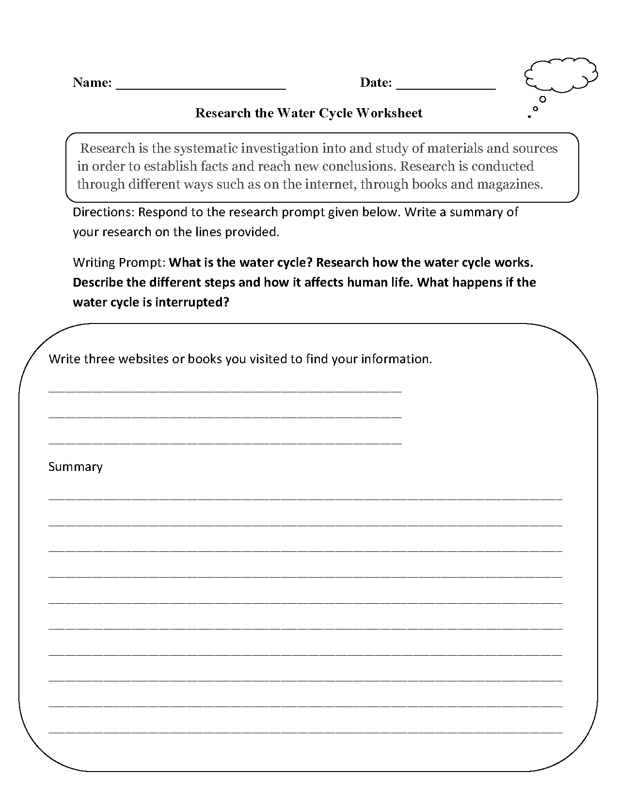 Research The Water Cycle Worksheet