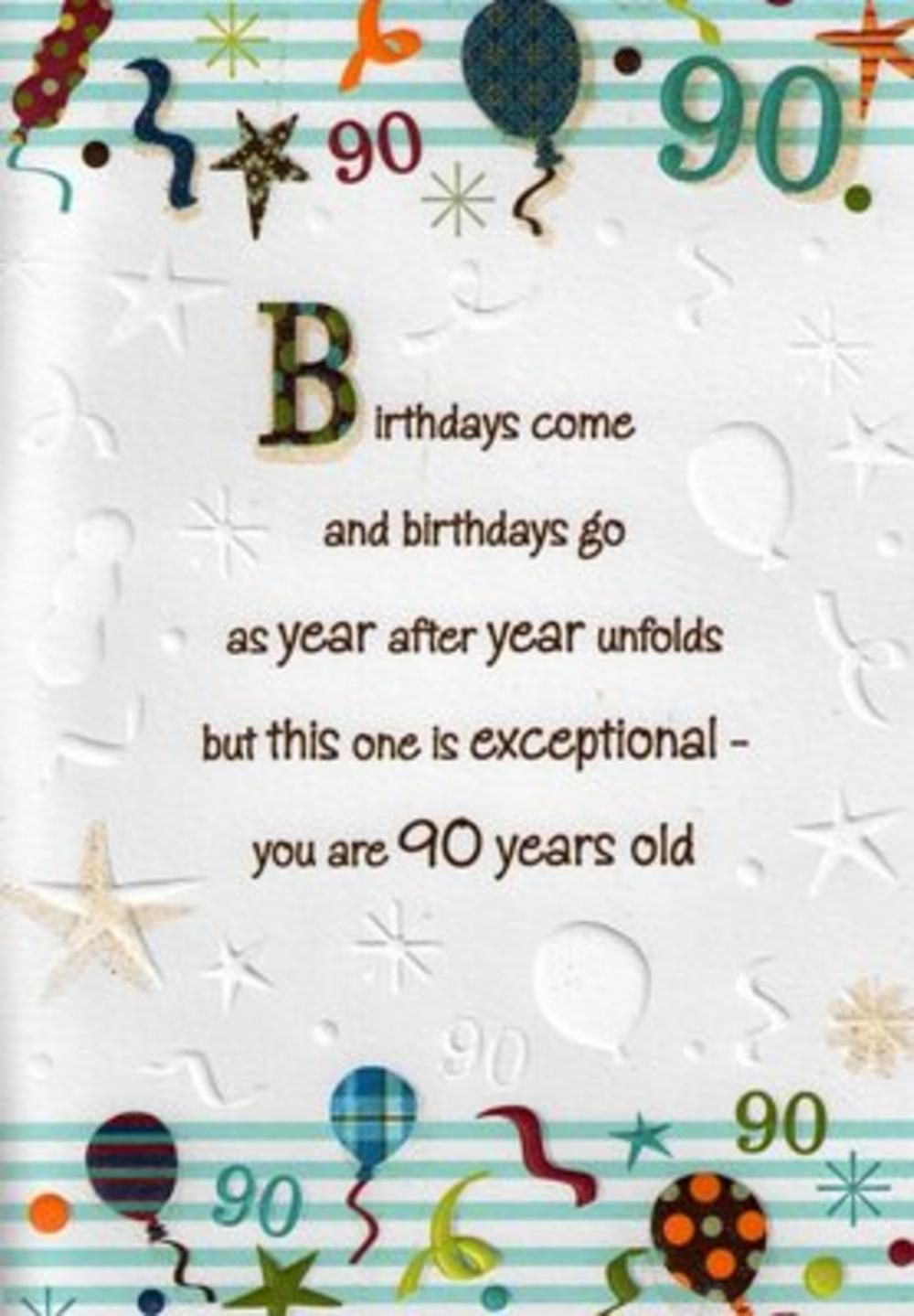 Verses For A 90th Birthday Card