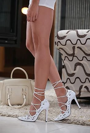 Tania Lace Up Heels In 2020 White Gladiator Heels Heels Stiletto Heels