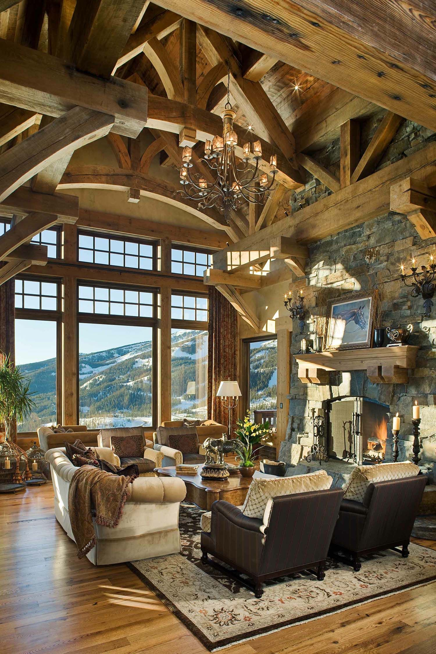 Photo of Handcrafted timber frame home with astonishing Rocky Mountain views