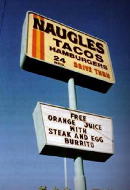 """Naugles was founded by former Del Taco partner Dick Naugle.  The first Naugles restaurant was located at the southwest corner  of Fourteenth St. and Brockton Ave. in Riverside, California (now a Del Taco).  Dick's motto was  """"Prepare food fresh. Serve customer fast. Keep place clean!"""""""