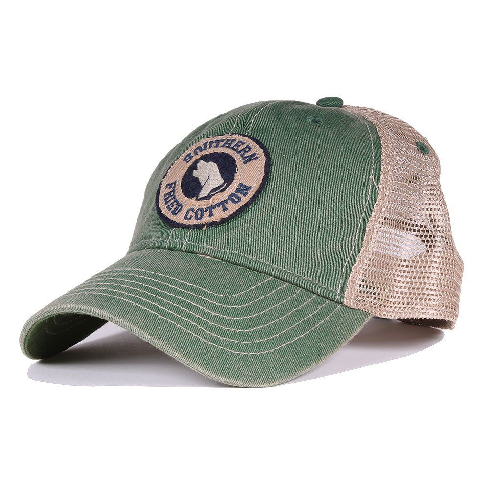 Southern Fried Cotton Howlin  Around Trucker Hat in Kelly Green – Country  Club Prep 86eb8b31af4