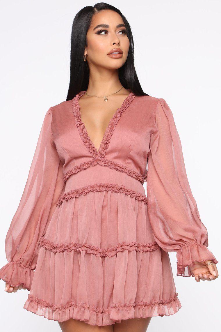 Juliet Flare Ruffle Mini Dress Mauve in 2020 Mauve