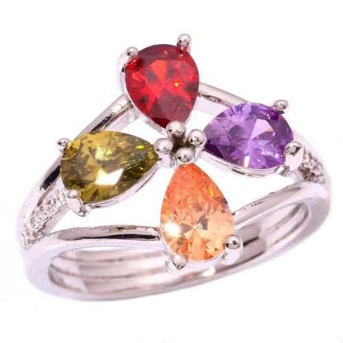 USA Seller Ladies 10k White Gold Filled Ring Amethyst, Garnet, Peridot & Citrine w/ A Row Of Tiny Diamonds on Each Side! Size 6 RETAIL VALUE $450.00. Starting at $3