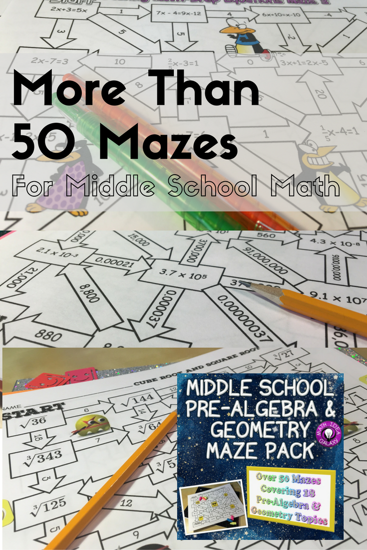 Middle School Math Activities Maze Pack | Algebra, Middle school ...