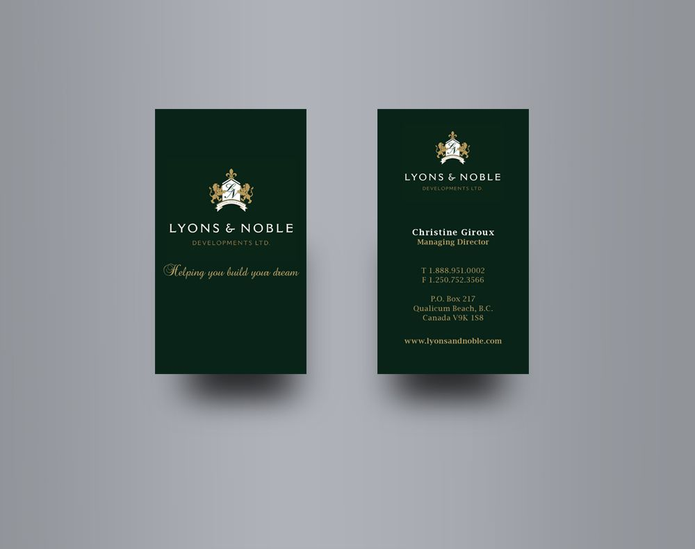 Lyons & Noble - Business card design for a custom home builder on ...