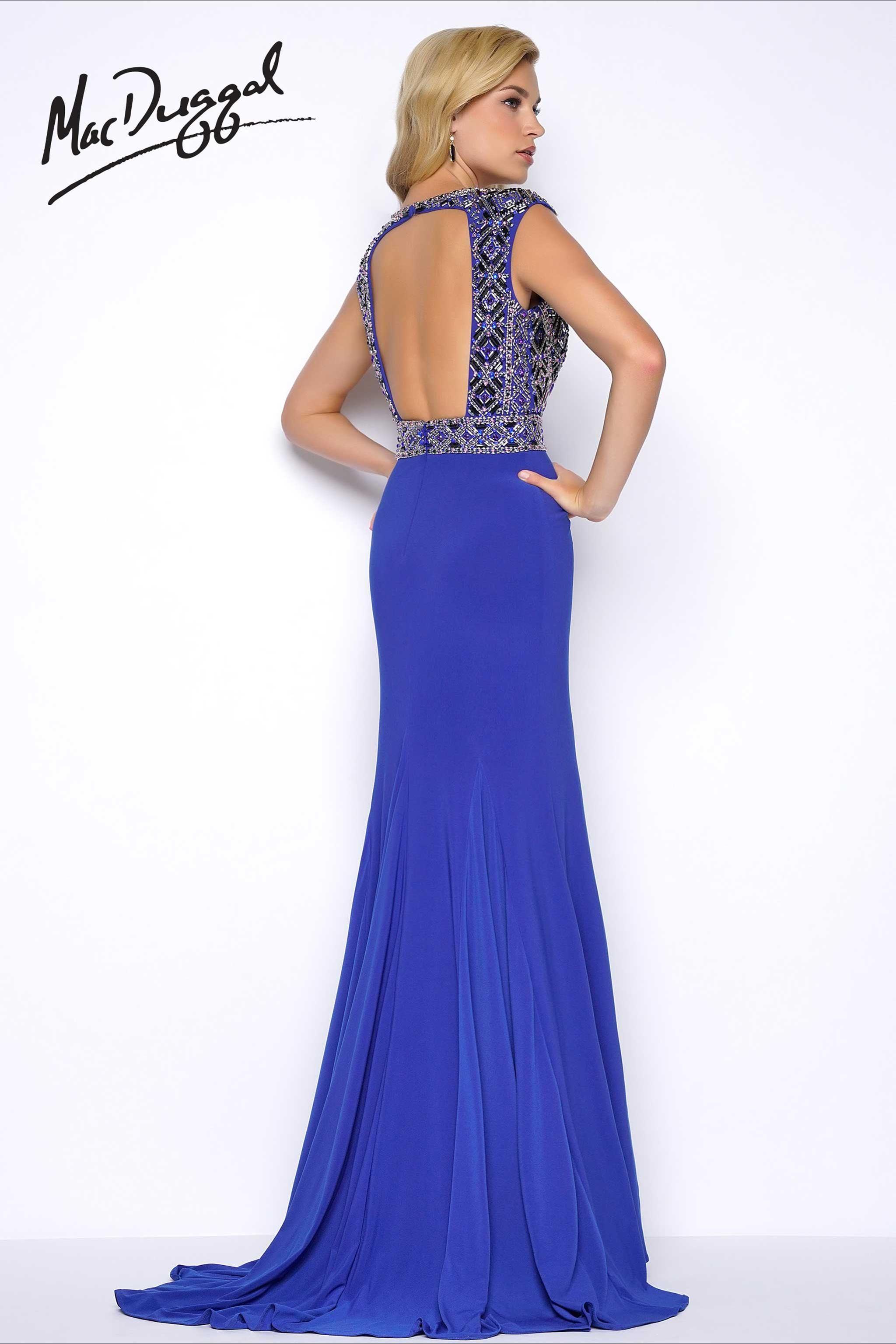 ef88118bfb0 Sapphire High Slit Prom Dress - back