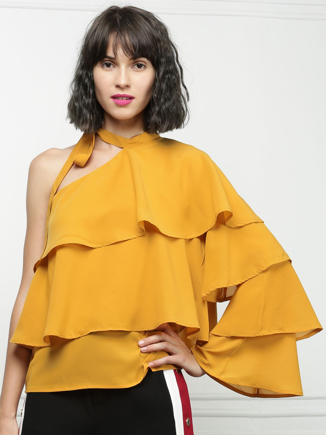 25335bcbc78 Buy All About You From Deepika Padukone Women Mustard Yellow Solid Tiered  Top - Tops for Women 2013443 | Myntra