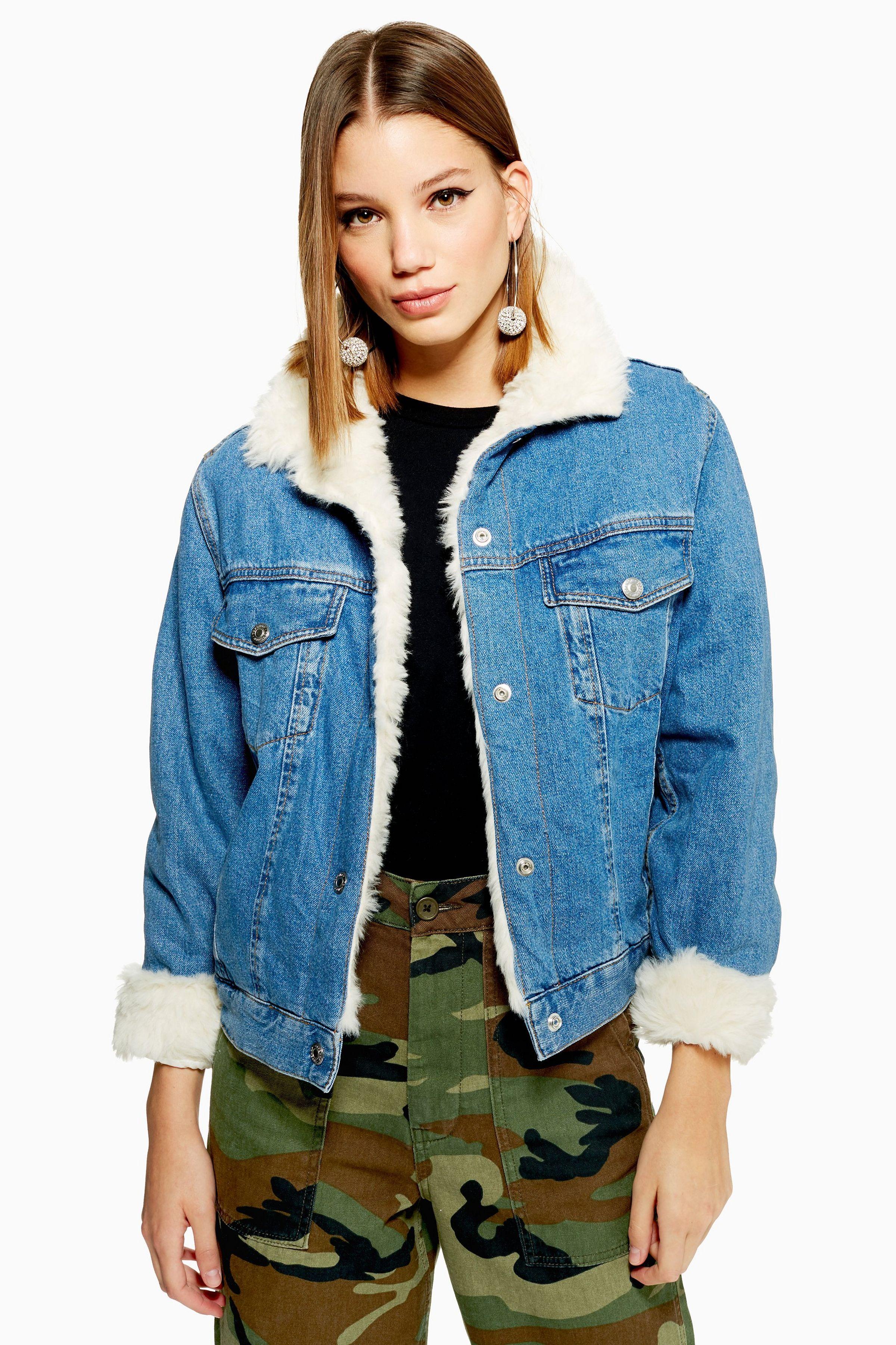 Faux Fur Lined Denim Jacket Fur lined denim jacket