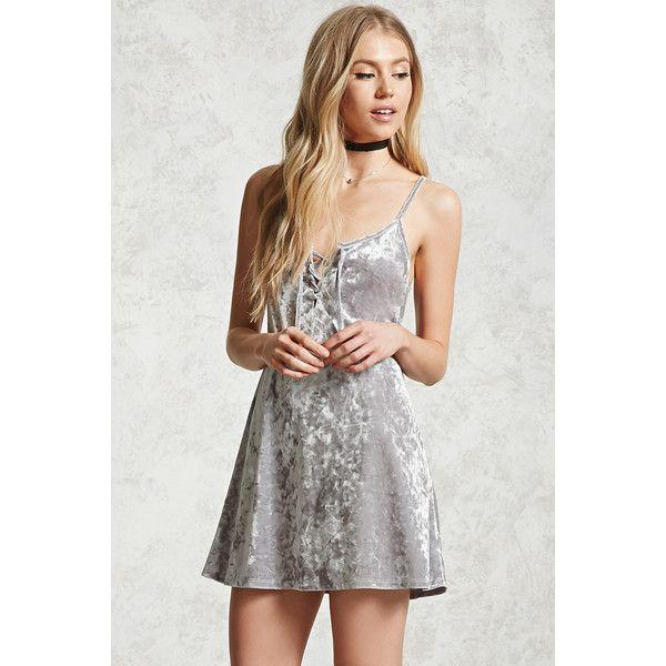 abaf89de95e7 Forever21 Crushed Velvet Lace-Up Dress ( 15) ❤ liked on Polyvore featuring  dresses