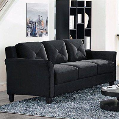 Lifestyle Solutions Hartford Microfiber Sofa in Black Harry potter